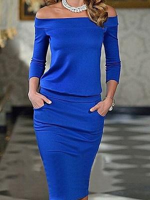 Off Shoulder  Plain Bodycon Dress