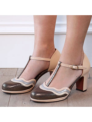 Color Block Chunky High Heeled Ankle Strap Round Toe Date Travel Pumps, 7151192