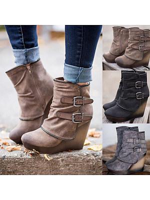 Plain  High Heeled  Velvet  Round Toe  Date Outdoor High Heels Boots