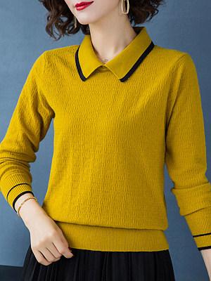 Lapel  Patchwork  Elegant  Striped  Long Sleeve  Knit Pullover