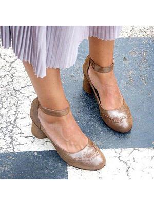 Plain Chunky High Heeled Round Toe Date Travel Heels, 7822955