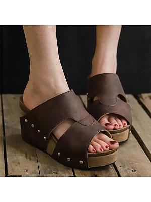Plain Peep Toe Casual Wedge Sandals фото