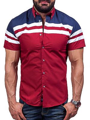 Button Bown Collar Color Block Striped Men Shirts