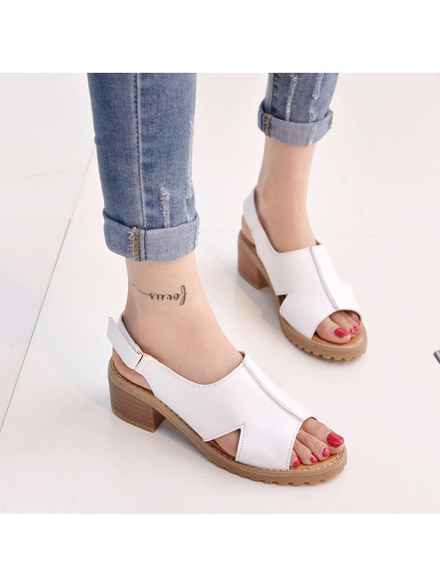 Plain  Chunky  Mid Heeled  PU  Casual Sandals