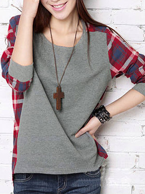 Round Neck Plaid High-Low Long Sleeve T-Shirt