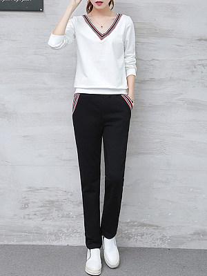 V Neck Contrast Trim Sweatshirt Suit фото