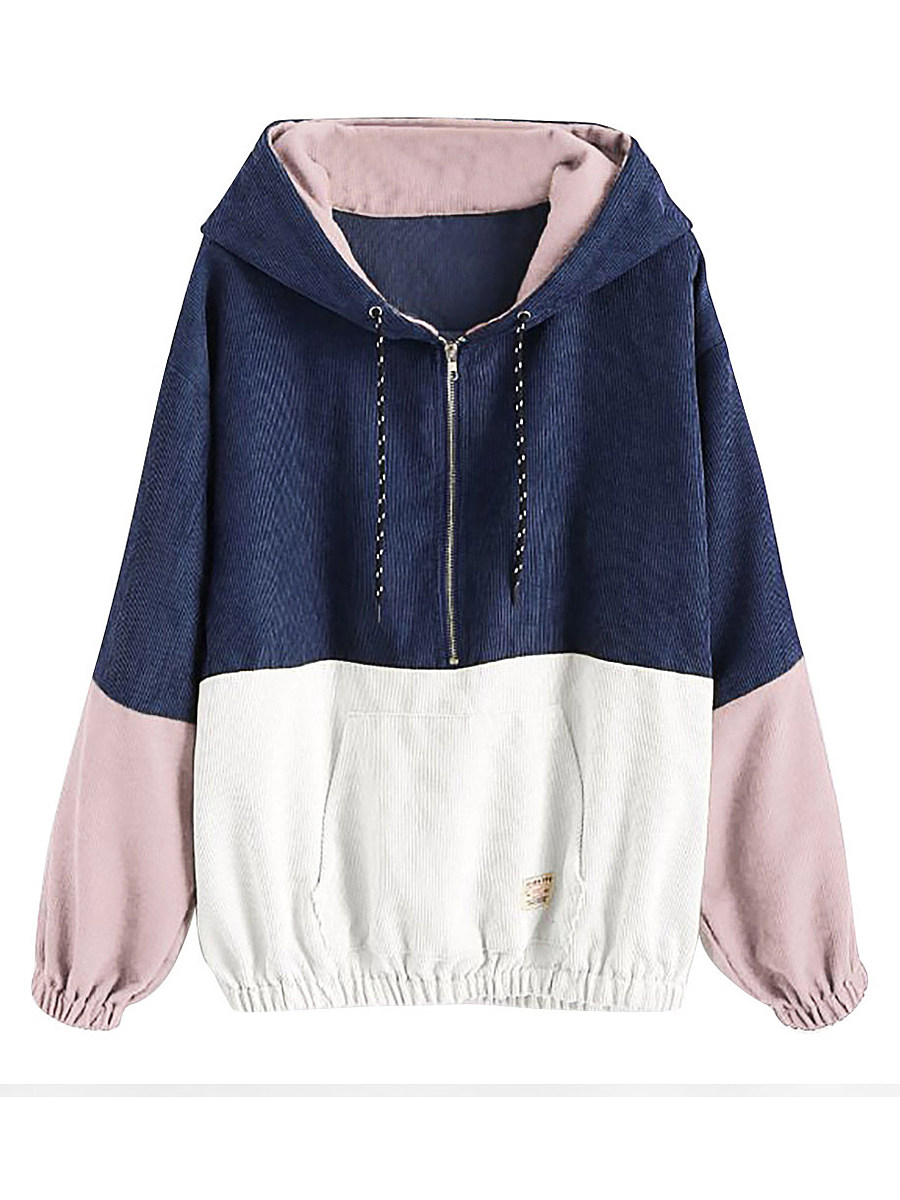 Casual  Colouring  Long Sleeve Hoodie