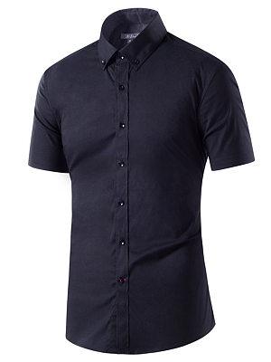 Button Down Collar Plain Short Sleeve Men Shirts фото
