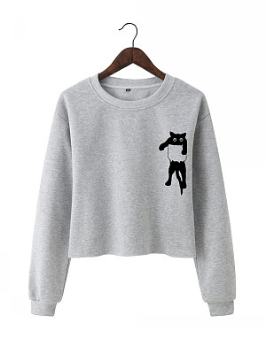 Casual  Plain  Long Sleeve Sweatshirt