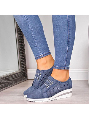 Plain Round Toe Casual Travel Sneakers, 8091418
