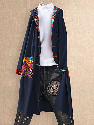 Retro Contrast Pocket Button Hooded Trench Coat фото