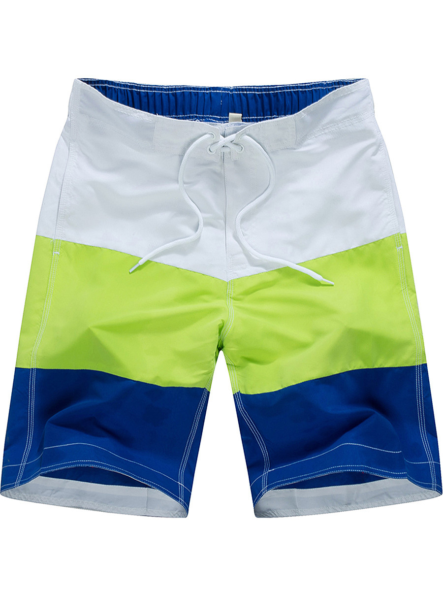 Lace-Up  Color Block  Straight  Mid-Rise Board Shorts