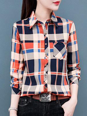 Lapel Patchwork Casual Plaid Long Sleeve Blouse, 9064886