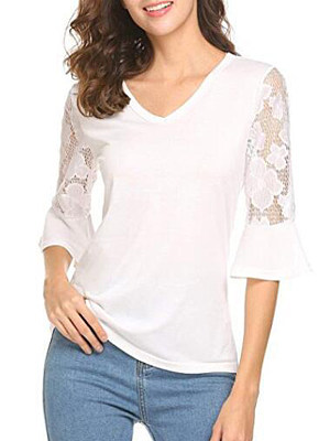 V Neck Patchwork Lace Bell Sleeve Long Sleeve T-Shirts