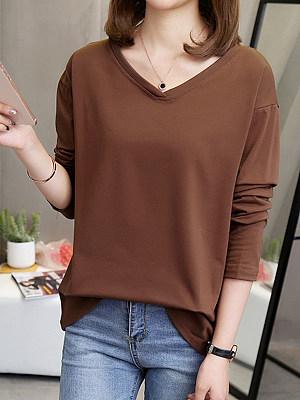 V Neck Loose Fitting Plain Long Sleeve T-Shirts