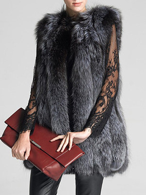 Fluffy Faux Fur Collarless Plain Waistcoat фото
