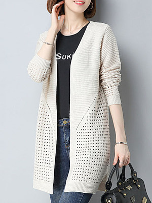Patchwork Elegant Plain Long Sleeve Knit Cardigans, 8174885
