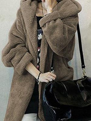 Belt  Plain  Long Sleeve Coats