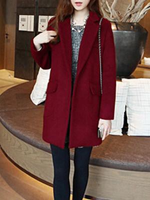Lapel  Decorative Button  Plain  Long Sleeve Coats