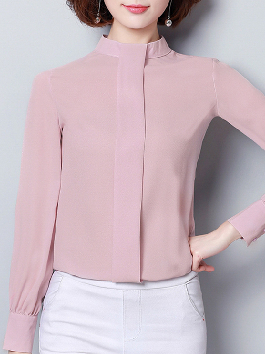 Band Collar Plain Blouses