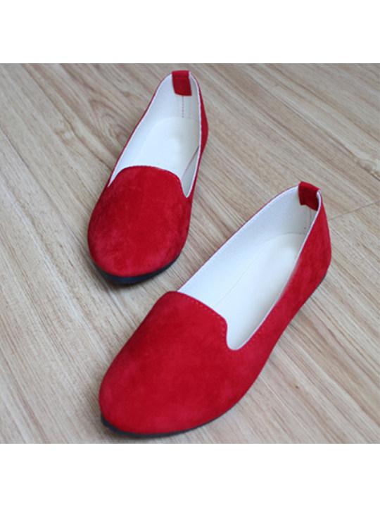 Plain Flat Velvet Round Toe Casual Flat Amp Loafers