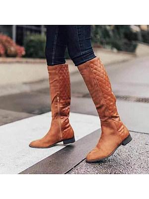 Plain Flat Round Toe Date Outdoor Knee High Flat Boots, 8508959