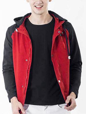 Hooded Pocket  Color Block Men Coat