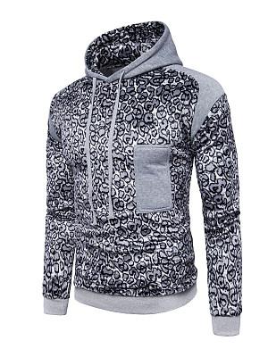 Leopard Drawstring Men Hoodie, 3871289