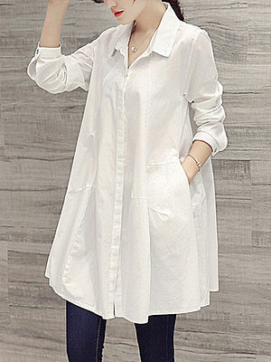 Button Down Collar Single Breasted Plain Blouses
