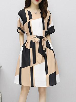 Round Neck Belt Print Shift Dress, 4696258