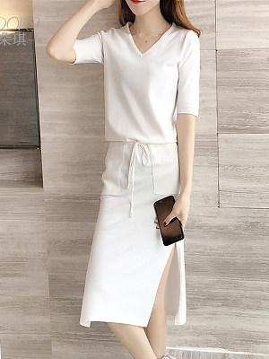 V-Neck Drawstring Patch Pocket Plain Bodycon Dresses, 8907573