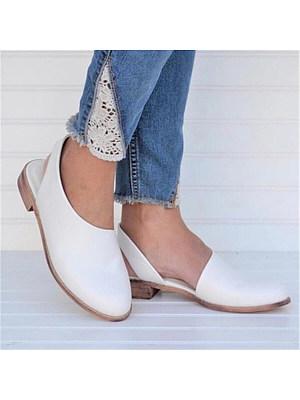 Plain Flat Round Toe Casual  Flat Sandals