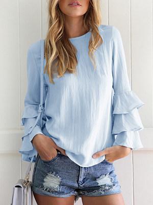 Berrylook Round Neck Cascading Ruffles Patchwork Plain Blouses online sale, shop, womens shirts, white shirt womens