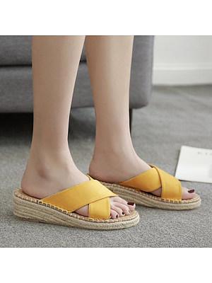 Plain Velvet Peep Toe Casual Date Comfort Slippers