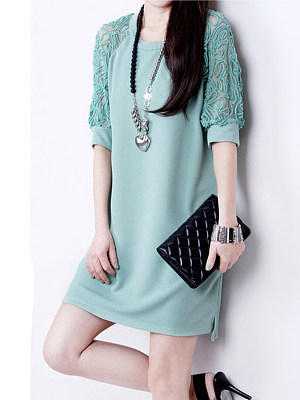 Round Neck  Decorative Lace  Plain Shift Dresses
