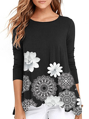 Casual Round Neck Printed Long Sleeve T-Shirts фото