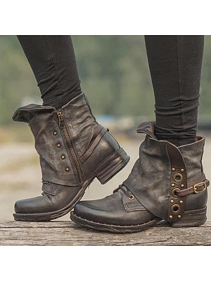 Plain Round Toe Date Outdoor  Flat Boots heel_height_ugg:low heel, season:autumn,winter, style:european and american style, upper_material:artificial pu, heels:chunky, toe:round toe, pattern_type:distressed, package_included:shoes*1, length:22.5,:23,