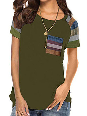 Round Neck Patchwork Striped Short Sleeve T-Shirts, 7118370