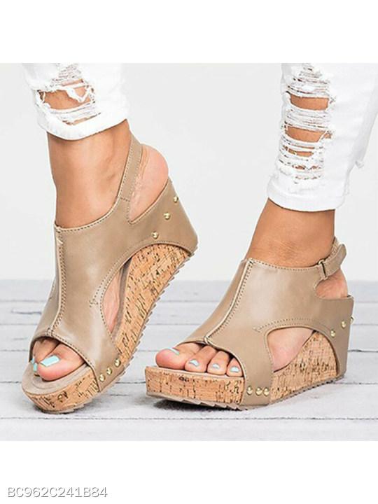 4c726c855172 Mid Heeled Chamois Ankle Strap Peep Toe Basic Casual Wedge Sandals -  berrylook.com