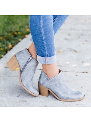 berrylook Plain High Heeled Round Toe Outdoor Ankle Boots
