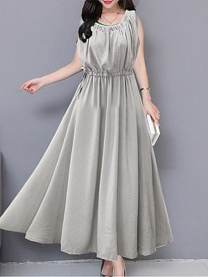 Round Neck  Drawstring  Plain Maxi Dress