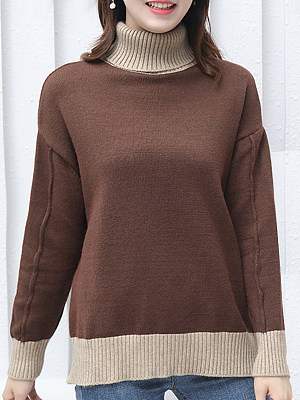 Heap Collar Patchwork Elegant Color Block Long Sleeve Knit Pullover, 9499531