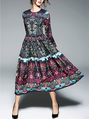 Fantastic Tribal Printed Round Neck Maxi Dresse