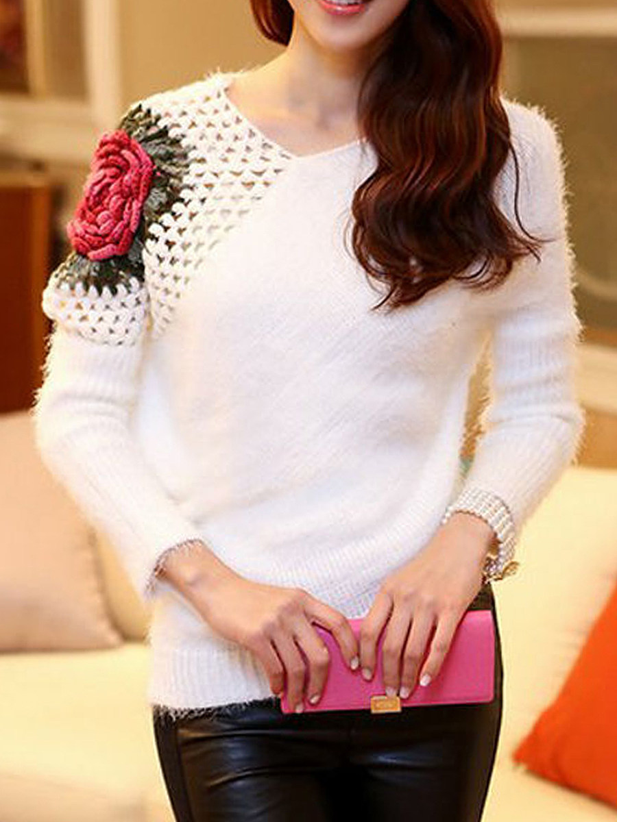 Asymmetric Neck Crochet Floral Hollow Out Sweater
