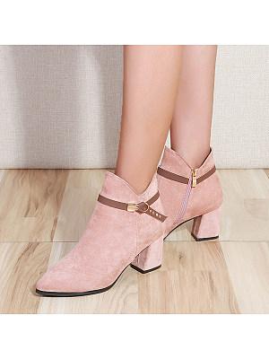 Plain  Chunky  Point Toe Boots