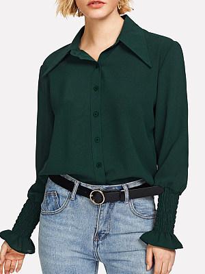 Turn Down Collar Loose Fitting Plain Blouses