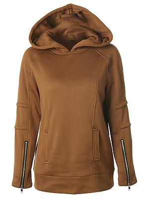 Hooded Zipper Plain Hoodie, 6317917