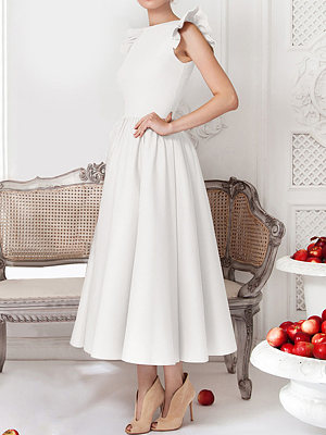 Round Neck Flounce Plain Evening Dress collar_&_neckline:round neck, dress_silhouette:flared, embellishment:flounce, material:blend, occasion:event,party,wedding, package_included:dress*1, pattern_type:plain, season:summer, sleeve_length:sleeveless, style:elegant, how_to_wash:hand wash only, length:133,bust:90,waist:76,