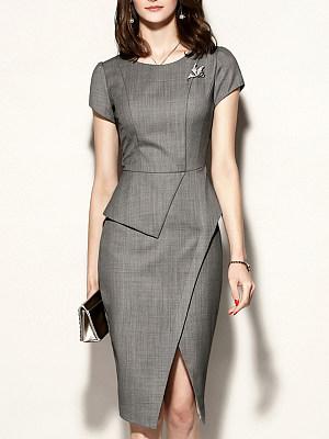 Round Neck Slit Plain Bodycon Dress, 7341668