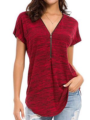 V Neck Zipper Plain Short Sleeve T-Shirts, 6703869